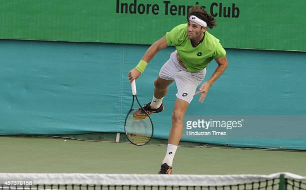 Stefano Travaglia of Italy playing against LiangChi Huang of Chinese Taipei during the fifth day of Indore Open ATP Challenger Tennis Tournament on...