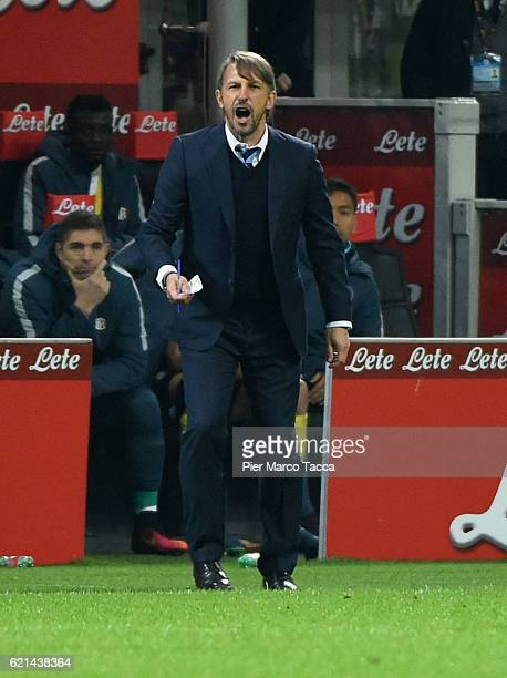 Stefano Vecchi Head Coach of FC Internazionale gestures during the Serie A match between FC Internazionale and FC Crotone at Stadio Giuseppe Meazza...