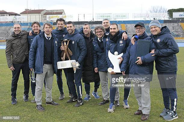 Stefano Vecchi manager of FC Internazionale and his Staff celebrates after scoring a goal during the Viareggio Juvenile Cup on February 16 2015 in...