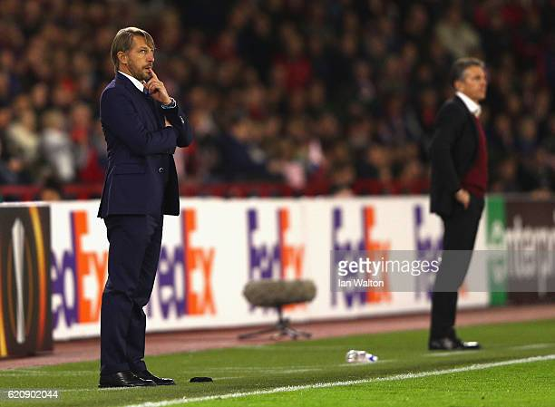 Stefano Vecchi Manager of Internazionale and Claude Puel Manager of Southampton look on during the UEFA Europa League Group K match between...