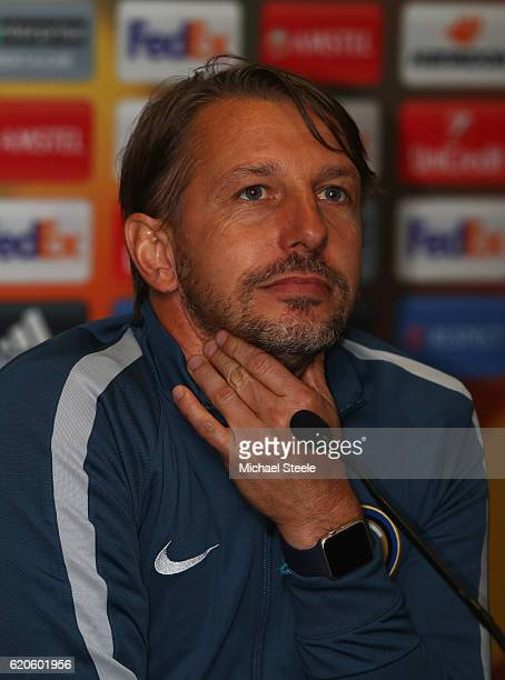 Stefano Vecchi the interim coach of Inter during the FC Internazionale Milano press conference at St Mary's Stadium on November 2 2016 in Southampton...
