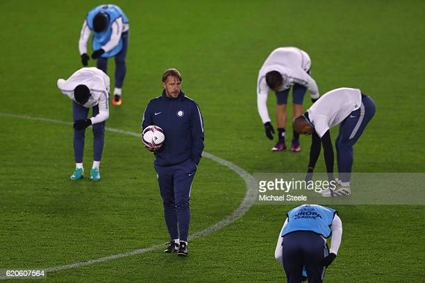 Stefano Vecchi the interim coach of Inter looks on as his squad warms up during the FC Internazionale Milano training session at St Mary's Stadium on...