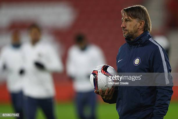 Stefano Vecchi the interim coach of Inter looks on during the FC Internazionale Milano training session at St Mary's Stadium on November 2 2016 in...