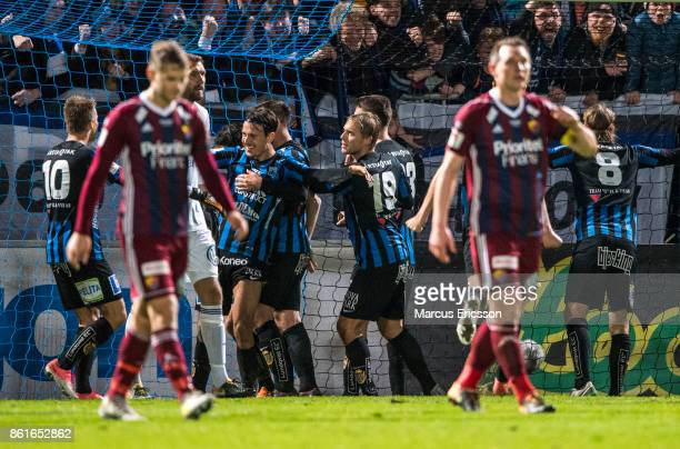 Stefano Vecchia of IK Sirius FK celebrates together with team players after scoring 20 during the Allsvenskan match between IK Sirius and Djurgardens...