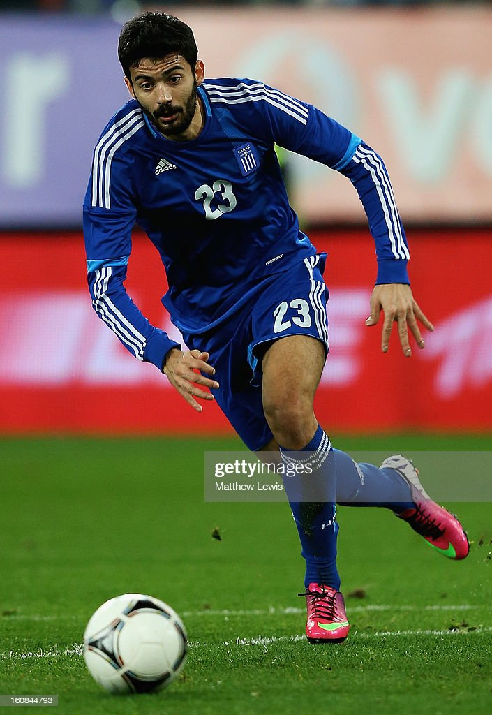 Stefanos Athanasiadis of Greece in action during the International Friendly match between Greece and Switzerland at Karaiskakis Stadium on February 6, 2013 in Athens, Greece.