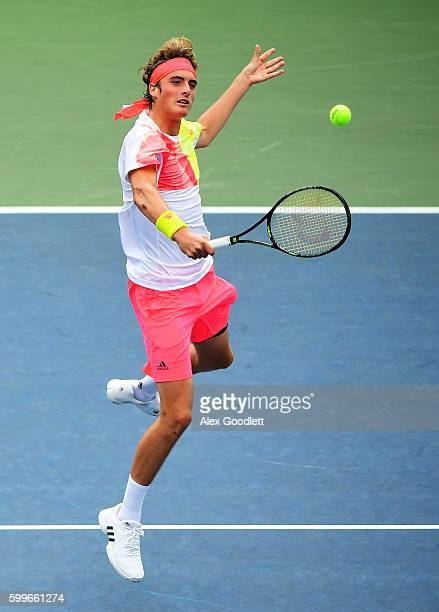 Stefanos Tsitsipas of Greece returns a shot to Blake Ellis of Australia during their Junior Boys' Singles Round Two Match on Day Nine of the 2016 US...