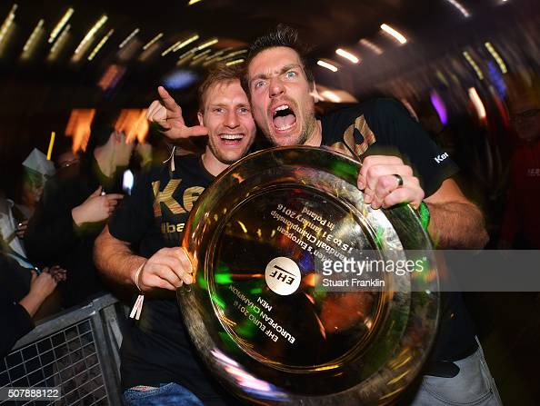 Stefen Weinhold and Carsten Lichtlein of Germany celebrate at the European Handball Champions winners party at Max Schmeling Halle on February 1 2016...