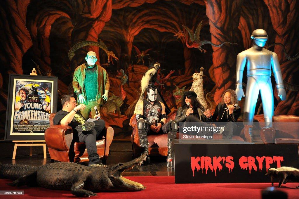 Steffan Chirazi, Doyle Von Frankenstein, Slash and Kirk Hammett (L-R) speak on the panel 'Speaking In The Key Of Horror' at Kirk Von Hammett's Fear FestEvil at Grand Regency Ballroom on February 8, 2014 in San Francisco, California.