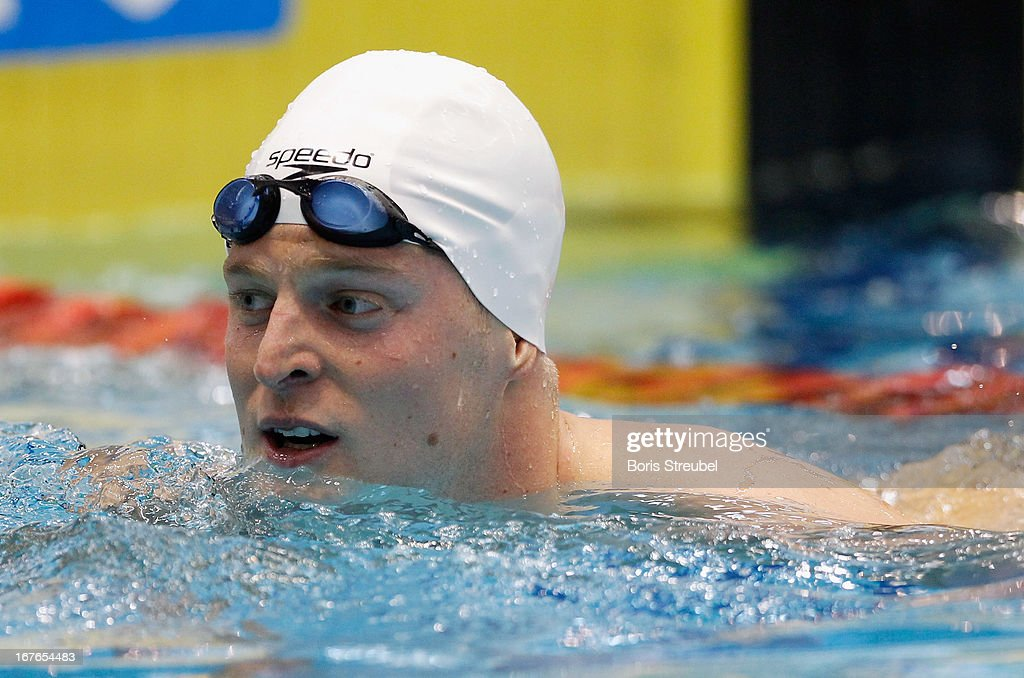 Steffen Deibler of Hamburger SC looks on after winning the men's 100m freestyle A final during day two of the German Swimming Championship 2013 at the Eurosportpark on April 27, 2013 in Berlin, Germany.