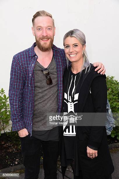Steffen Donsbach and his girlfriend Pia Tillmann attend the 'BILD Renntag' At Trabrennbahn Gelsenkirchen on Mai 01 2016 in Gelsenjirchen Germany