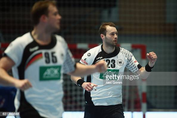 Steffen Faeth of Germany celebrates a goal during the international handball friendly match between Germany and Austria at RothenbachHalle on January...