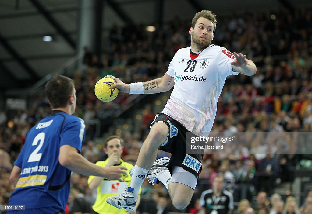 <a gi-track='captionPersonalityLinkClicked' href=/galleries/search?phrase=Steffen+Faeth&family=editorial&specificpeople=5830946 ng-click='$event.stopPropagation()'>Steffen Faeth</a> of Germany on the ball during the match between Germany and Bundesliga All Stars on February 2, 2013 in Leipzig, Germany.