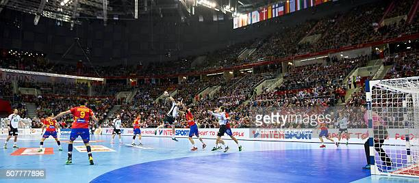 Steffen Fath from Germany throws the ball against goalkeeper Arpad Sterbik from Spain during the Men's EHF Handball European Championship 2016 Final...