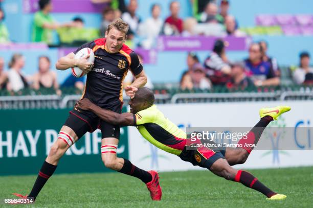 Steffen Liebig of Germany competes during the 2017 Hong Kong Sevens match between Germany and Uganda at Hong Kong Stadium on April 7 2017 in Hong...