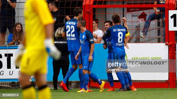 Steffen Puttkammer Marius Kleinsorge Martin Wagner and Thilo Leugers of Meppen celebration the Goal 10 for Meppen during the 3 Liga match between SV...