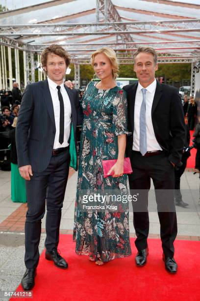 Steffen Schroeder Melanie Marschke and Marco Girnth attend the UFA 100th anniversary celebration at Palais am Funkturm on September 15 2017 in Berlin...