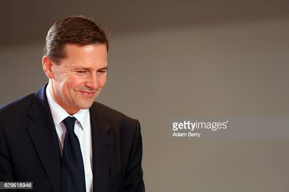 Steffen Seibert speaker of the German federal government arrives for the weekly German federal Cabinet meeting on December 14 2016 in Berlin Germany...