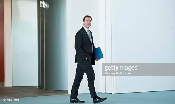 Steffen Seibert spokesman of German Chancellor Angela Merkel arrives at the German federal chancellery prior a Meeting of Angela Merkel an Bill Gates...