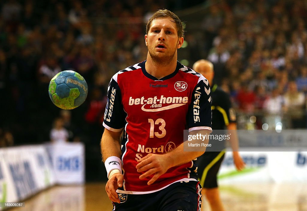 Steffen Weinhold of Flensburg in action during the DKB Handball Bundesliga match between SG Flensburg-Handewitt and TV Grosswallstadt at Flens Arena on March 3, 2013 in Flensburg, Germany.