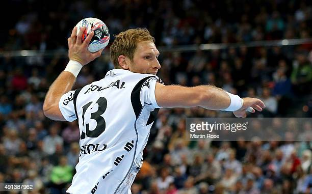 Steffen Weinhold of Kiel in action during the DKB HBL Bundesliga match between THW Kiel and Bergischer HC at Sparkassen Arena on September 30 2015 in...