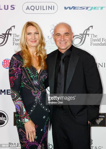 Steffi Graf and Andre Agassi arrive for the David Foster Foundation Gala at Rogers Arena on October 21 2017 in Vancouver Canada