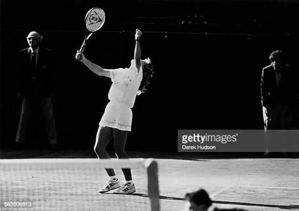 Steffi Graf beats Martina Navratilova in the Women's Singles finals at Wimbledon London 2nd June 1988