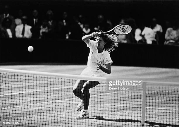 Steffi Graf beats Martina Navratilova in the Women's Singles finals at Wimbledon London 2nd June 1988