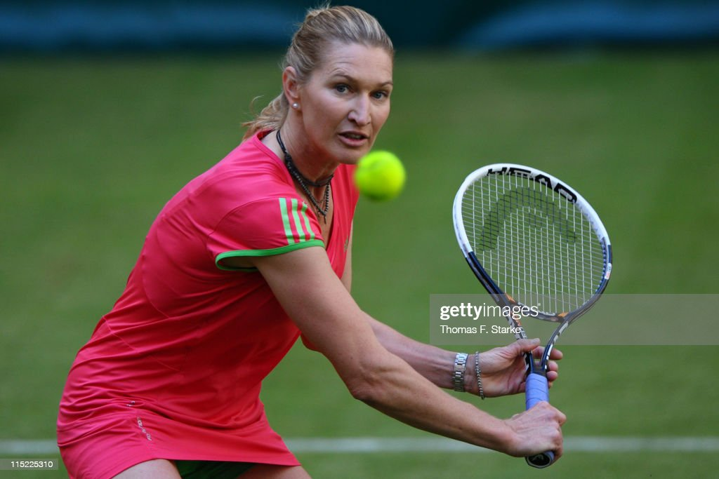 Steffi Graf in action during the Warsteiner Champions Trophy of the Gerry Weber Open at the Gerry Weber stadium on June 4, 2011 in Halle, Germany.