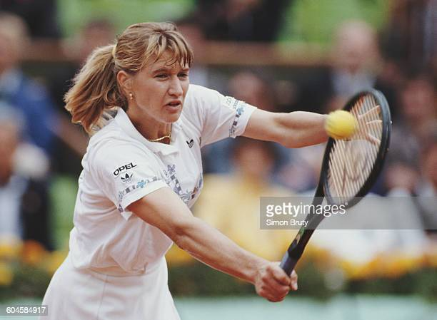 Steffi Graf of Germany during her Women's Singles Final match against Spain Arantxa Sanchez Vicario at the French Open Tennis Championship on 10 June...