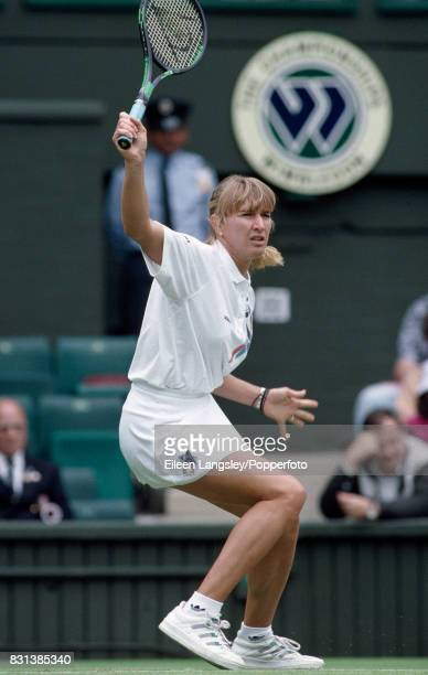 Steffi Graf of Germany in action during a women's singles match at the Wimbledon Lawn Tennis Championships in London circa July 1993 Graf won the...