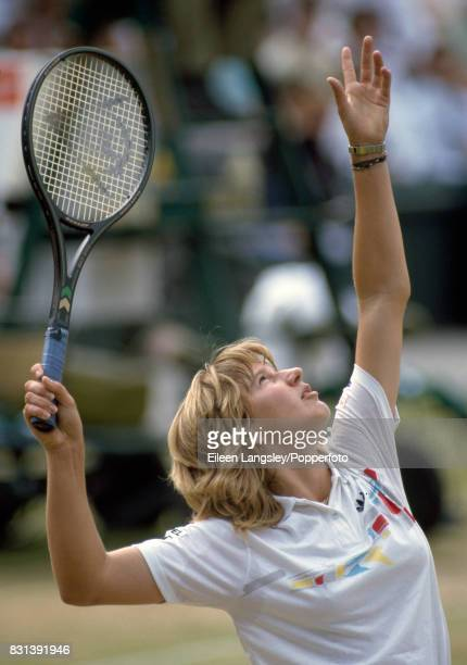 Steffi Graf of Germany in action during a women's singles match at the Wimbledon Lawn Tennis Championships in London circa July 1987 Graf lost the...