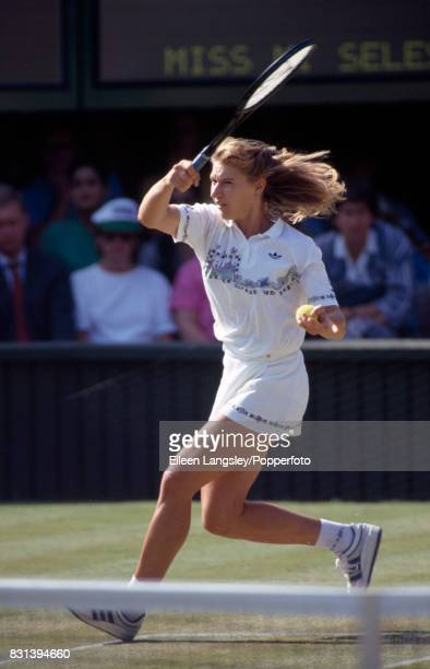 Steffi Graf of Germany in action during a women's singles match at the Wimbledon Lawn Tennis Championships in London circa July 1989 Graf won the...