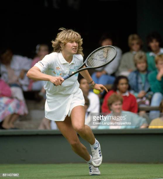 Steffi Graf of Germany in action during a women's singles match at the Wimbledon Lawn Tennis Championships in London circa July 1987 Graf was...