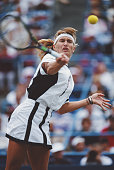 Steffi Graf of Germany makes a forehand return against Helena Sukova during theWomen's Singles Final match of the United States Open Tennis...