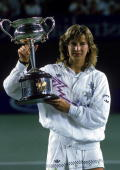 Steffi Graf of Germany raises the trophy after winning the Australian Open at Flinders Park 1988 in Melbourne Australia