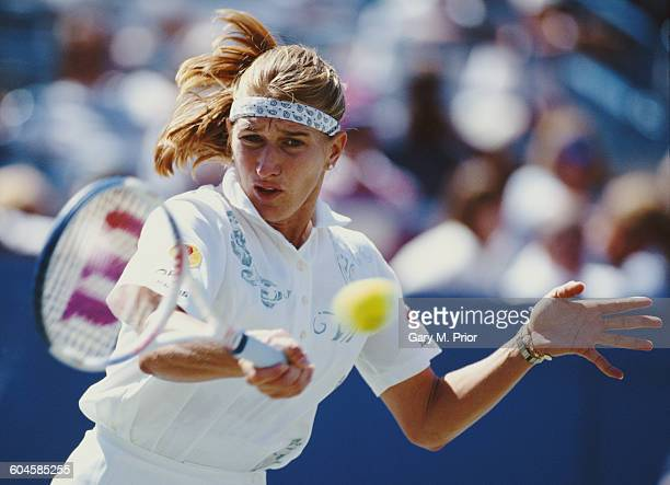 Steffi Graf of Germany returns to Radka Bobkova during their Women's Singles Third round match of the United States Open Tennis Championship on 1...