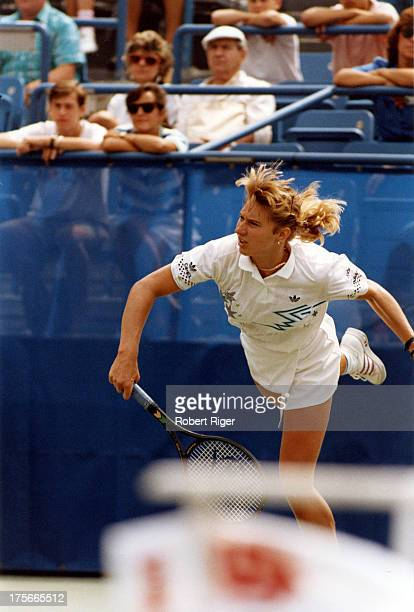 Steffi Graf of Germany serves during her match at the 1988 US Open in Flushing Meadows New York