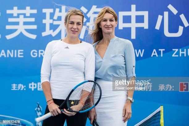 Steffi Graf of Germany the global ambassador of Zhuhai WTA Elite Trophy 2017 and Anastasia Pavlyuchenkova of Russia pose for photo during the Steffi...