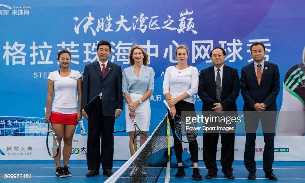Steffi Graf of Germany the global ambassador of Zhuhai WTA Elite Trophy 2017 Anastasia Pavlyuchenkova of Russia and guests pose for photo during the...