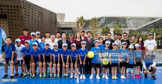 Steffi Graf of Germany the global ambassador of Zhuhai WTA Elite Trophy 2017 poses for photo with children and guests during the tennis clinic at...
