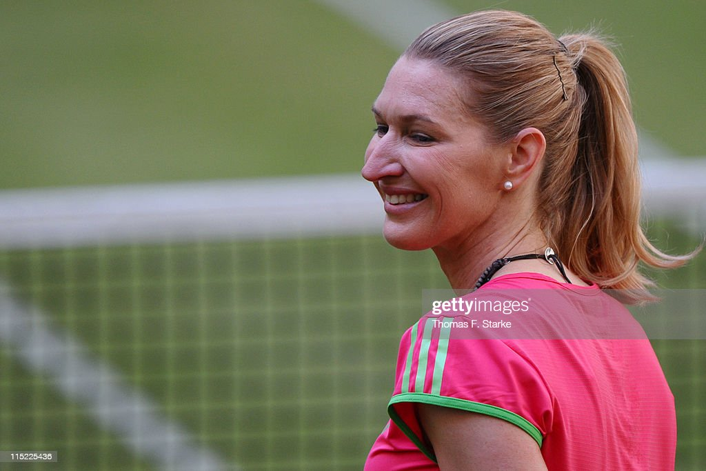 Steffi Graf reacts during the Warsteiner Champions Trophy of the Gerry Weber Open at the Gerry Weber stadium on June 4, 2011 in Halle, Germany.