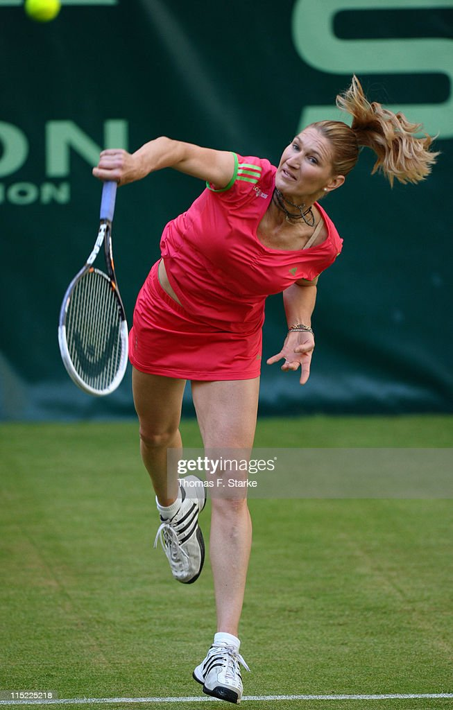 Steffi Graf serves during the Warsteiner Champions Trophy of the Gerry Weber Open at the Gerry Weber stadium on June 4, 2011 in Halle, Germany.