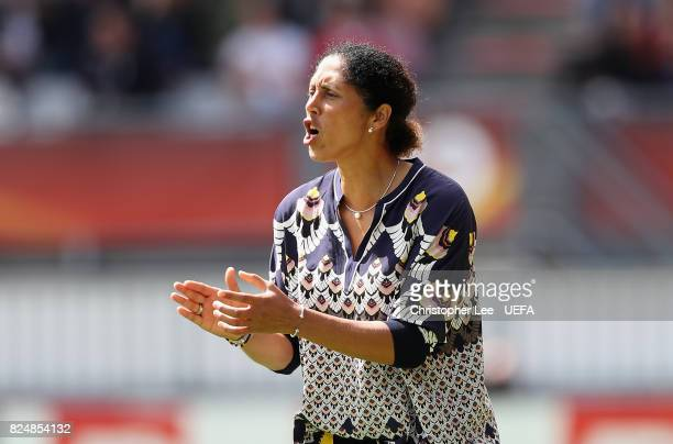 Steffi Jones head coach of Germany shouts orders to her players during the UEFA Women's Euro 2017 Quarter Final match between Germany and Denmark at...