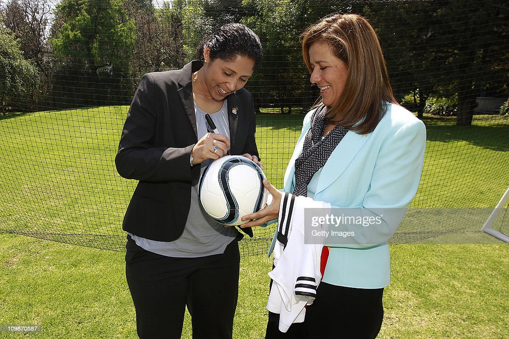 Steffi Jones, Organising Committee President's Cup Women's World Cup 2011 and Margarita Zavala, first lady of Mexico, meet as part of the Germany 2011 FIFA Women's World Cup delegation Welcome Tour at Residencia Oficial de Los Pinos on March 08, 2011 in Mexico City, Mexico.
