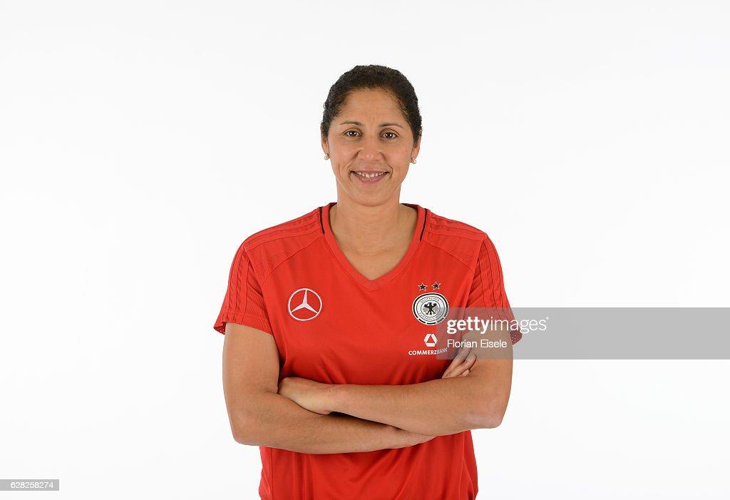 Steffi Jones poses during the team presentation of the German women's national soccer team on November 25, 2016 in Chemnitz, Germany.