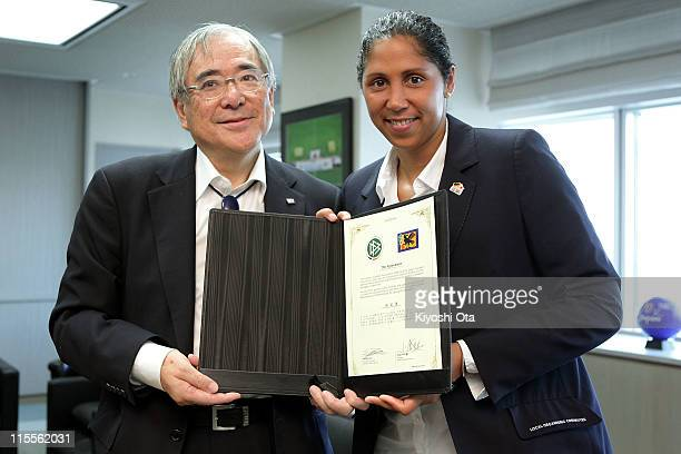 Steffi Jones President of the Women's World Cup 2011 German Organizing Committee and Junji Ogura President of the Japan Football Association pose...