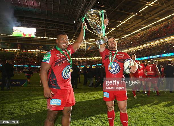 Steffon Armitage and Craig Burden of Toulon celebrate after their victory during the Heineken Cup Final between Toulon and Saracens at the Millennium...