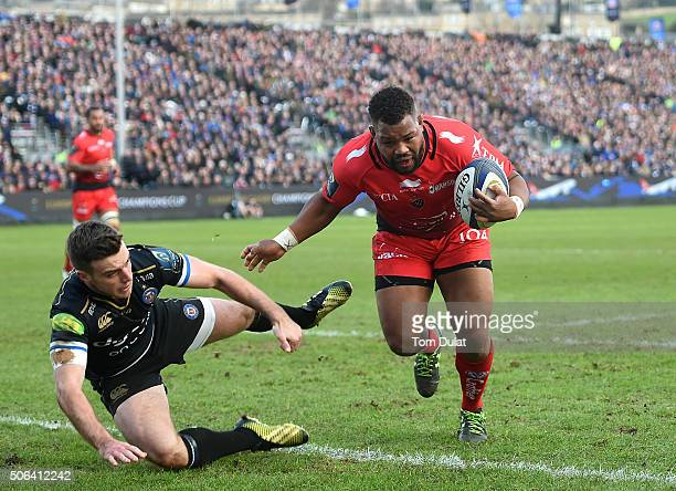 Steffon Armitage of RC Toulon scores a try during the European Rugby Champions Cup match between Bath Rugby and RC Toulon at Recreation Ground on...