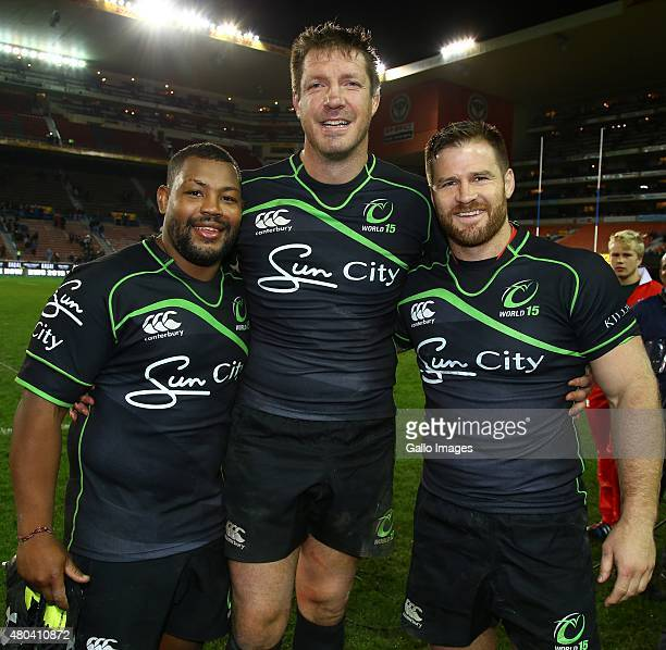 Steffon Armitage of the World XV with Bakkies Botha of the World XV and Craig Burden of the World XV during the match between South Africa and World...