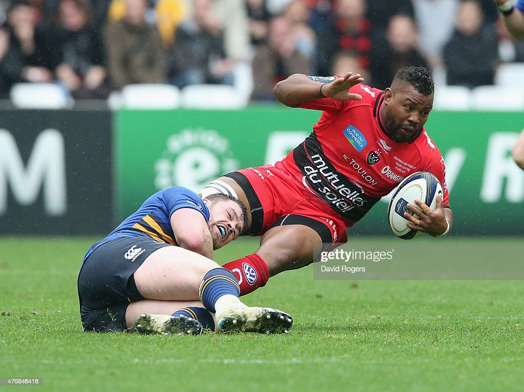 Steffon Armitage of Toulon is tackled by Cian Healy during the European Rugby Champions Cup semi final match between RC Toulon and Leinster at Stade...